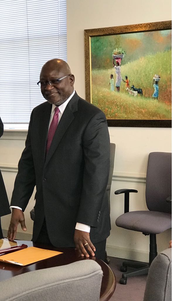 H.E. Martin Andjaba, outgoing Namibian Ambassador to the US, speaking on March 22, at a farewell reception held in his honour at Africare in Washington