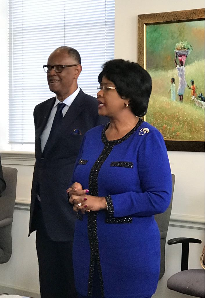 Ambassador Arikana Chihombori-Quao speaking at the farewell reception of H.E Andjaba, Namibia's outgoing Ambassador. She's flanked by Melvin Foote, President and CEO of Constituency for Africa